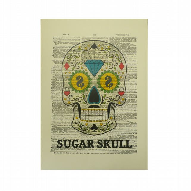 Vintage Inspired ' Sugar Skull ' Dictionary Page Art Print P015