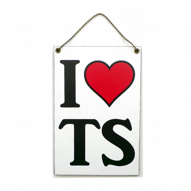 Handmade Wooden ' I Heart TS ' Hanging Sign 301