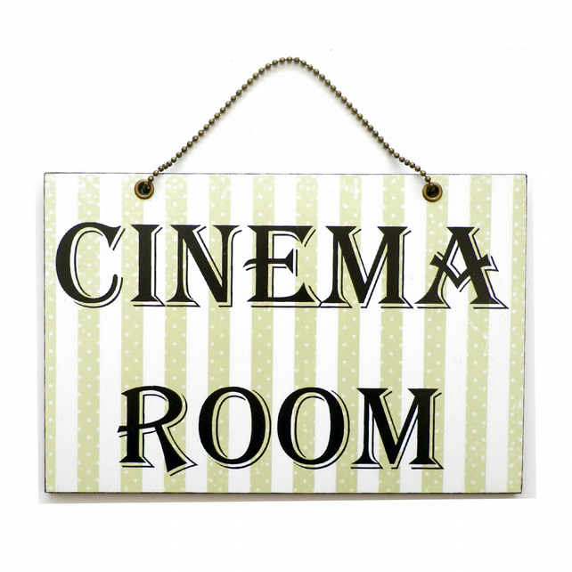 Handmade Wooden ' Cinema Room ' Hanging Sign 302
