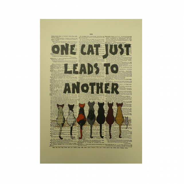 Vintage Inspired ' One Cat Just Leads To Another ' Dictionary Page Art P018