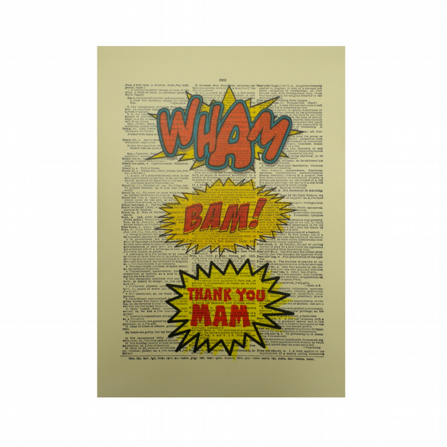 Vintage Inspired  ' Wham Bam! Thank You Mam ' Dictionary Page Art Print P022