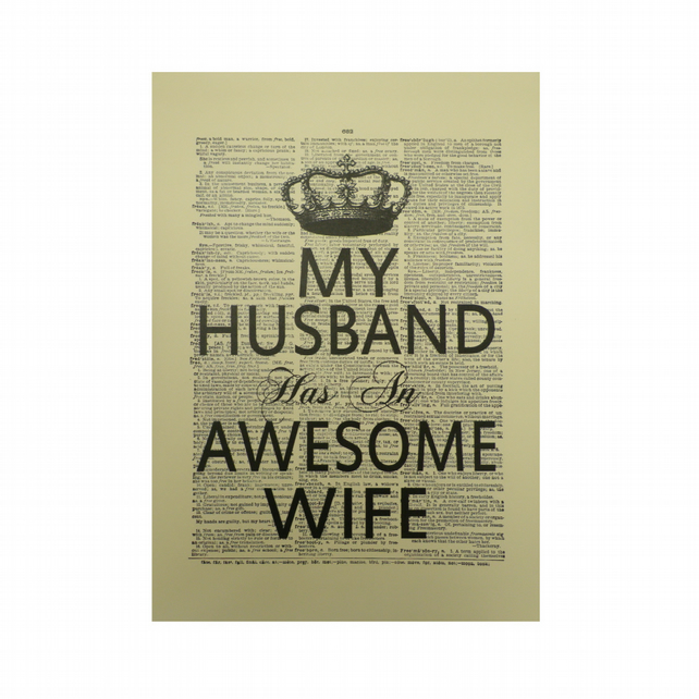 Vintage Inspired 'My Husband Has An Awesome Wife' Dictionary Page Art Print P030
