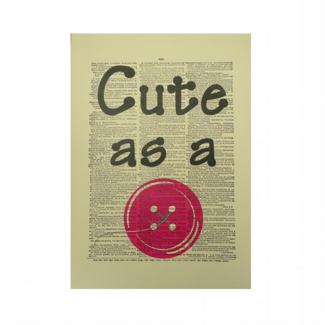 Vintage Inspired Pink ' Cute As A Button ' Dictionary Page Art Print P032