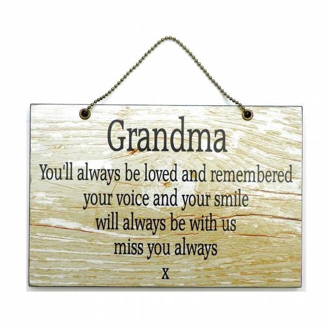 Handmade Wooden ' Grandma ' Remembrance Home Sign 335
