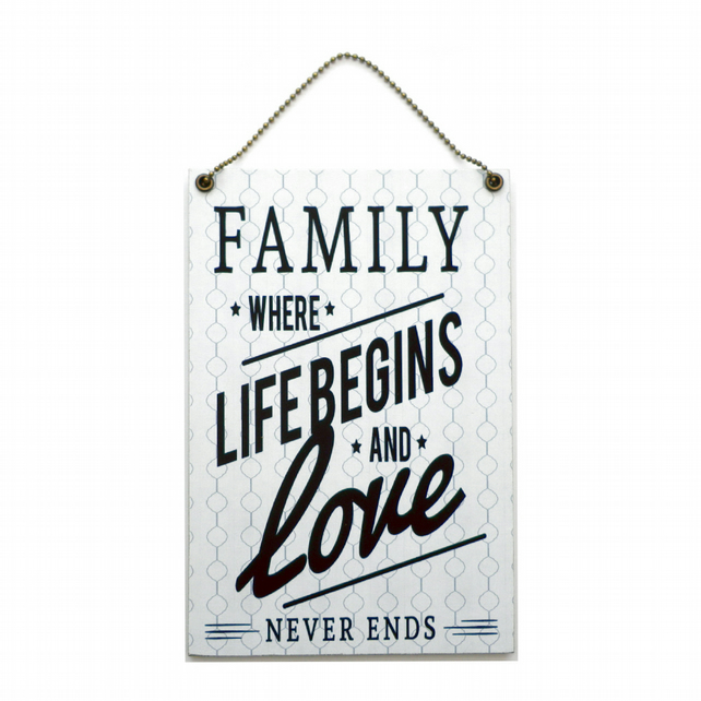 Handmade Wooden ' Family Where Life Begins ' Home Sign 426