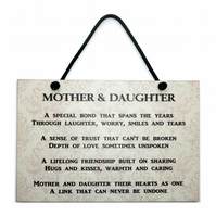 Mothers Day Gift ' Mother and Daughter ' Handmade Home Sign 172