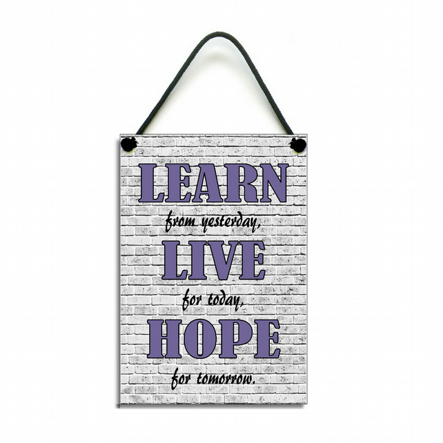 Inspirational Quote Learn From Yesterday Live For Today Handmade Home Sign 564
