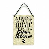 Handmade Golden Retriever Hanging Sign 017