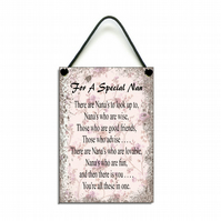 'For a Special Nan' Wooden Hanging Sign 076