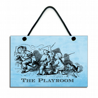 Handmade Wooden The Playroom Hanging Sign 073