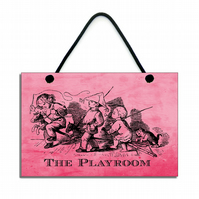 Handmade Wooden The Playroom Hanging Sign 074
