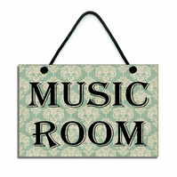 Handmade Wooden ' Music Room ' Home Sign Plaque 368