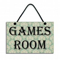 Handmade Wooden ' Games Room ' Home Sign 451