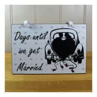 Wedding Gift Chalkboard Countdown Mr and Mrs Handmade Wooden Diamante Plaque
