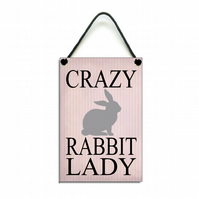 Handmade Crazy Rabbit Lady Gift Hanging Sign Plaque 247