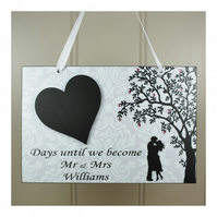 PERSONALISED Wedding Countdown Chalkboard Heart  Mr and Mrs Engagement Gift 640