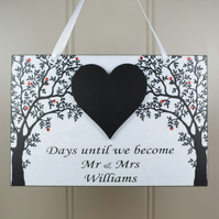PERSONALISED Mr and Mrs Wedding Countdown Chalkboard Heart Diamante Plaque 641