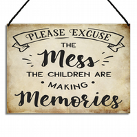 Family Home Sign Please Excuse The Mess Family Quote Hanging Plaque GA078