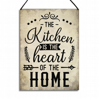 Kitchen Sign The Kitchen Is The Heart Of The Home Quote Family Plaque GA080