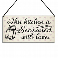 Kitchen Sign This Kitchen Is Seasoned With Love Quote Hanging Wall Plaque GA079