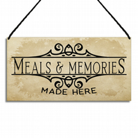 Inspirational Kitchen Sign Meals and Memories Made Hanging Home Plaque GA076