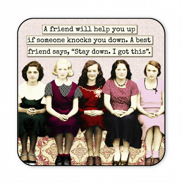Inspirational Coaster Best Friend Retro Gift A Friend Will Help You C009