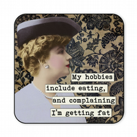 Funny Retro Coaster My Hobbies Include Eating And Complaining C015