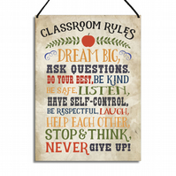 Motivational Plaque Classroom Rules Metal Home Sign GA015