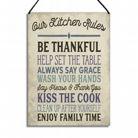 Kitchen Sign Our Kitchen Rules Kiss The Cook Enjoy Family Time GA016