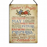 Teacher's Prayer Inspirational Metal Plaque Teacher's Gift Quote Wall Sign GA060