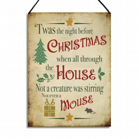 Merry Christmas Home Sign Night Before Christmas Hanging Metal Wall Plaque GA084