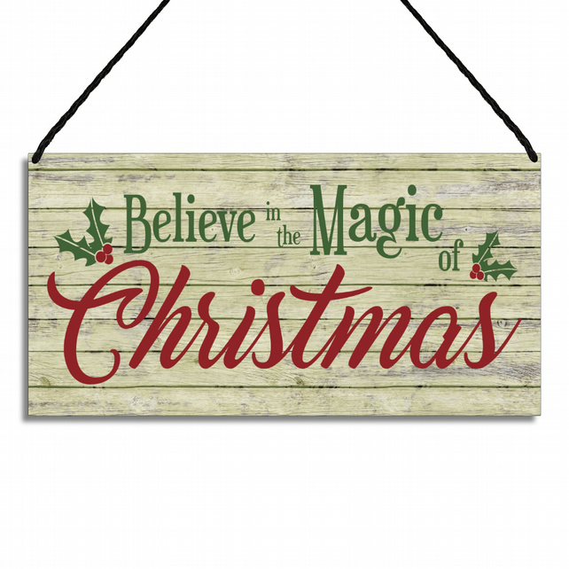 Merry Christmas Sign Believe In The Magic Of Christmas Hanging Wall Plaque GA085
