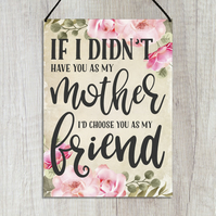 Mother and Daughter Plaque If I Didn't Have You As My Mother GA131