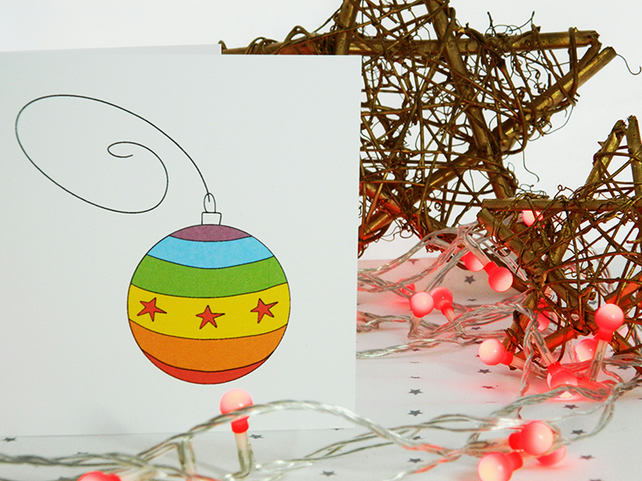 Rainbow Bauble Christmas Card
