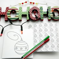 Pack of 2, Colour Your Own Christmas Cards, Christmas Baubles