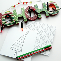 Pack of 2, Colour Your Own Christmas Cards, Christmas Trees