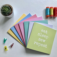 eat sleep sew repeat greetings card