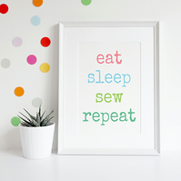 Sewing Knitting or Crochet Themed A4 Giclee Print