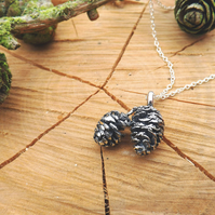 Twin Pinecone Necklace