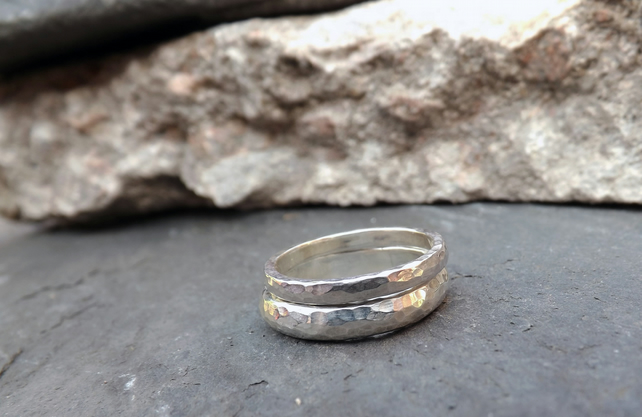 Silver Meteorite Wedding Rings
