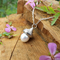 White Pearl Silver Acorn Necklace