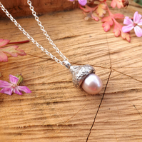 Pink Pearl Silver Acorn Necklace