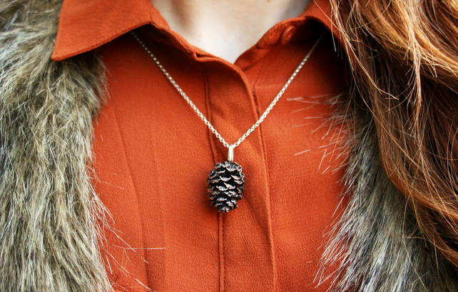 Chunky Copper Pinecone necklace by Curious Magpie