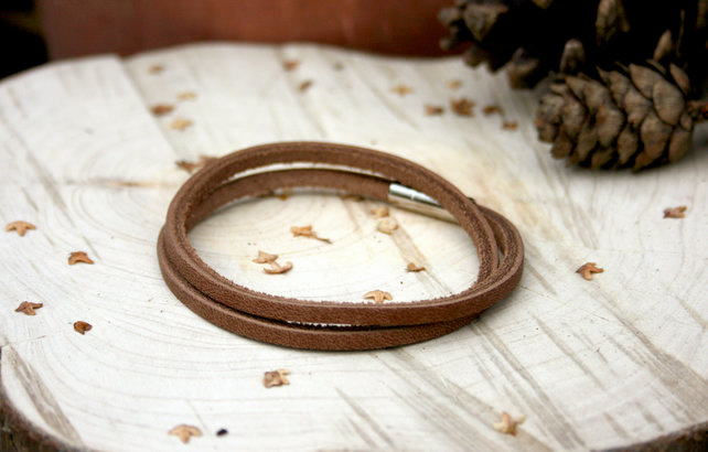 Men's Brown Leather Duo Bracelet