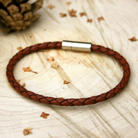 Men's Brown Leather Attexo Bracelet