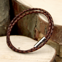 Men's Brown Leather Double Attexo Bracelet