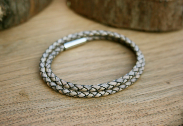 Men's Grey Leather Double Attexo Bracelet