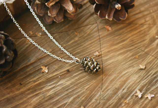 Brass Pinecone Necklace