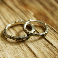 Silver Twig Wedding Rings