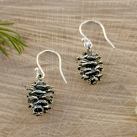Silver Pine Cone Earrings